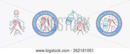 Flat Outline Vector Set Of Hand Sanitizer Pump Bottle, Washing Gel, Alcohol Gel, Washing Hands . Ant