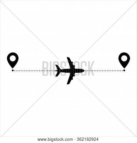Airplane Line Path Vector Icon	, Aviation, Dash, Itinerary, Dashed