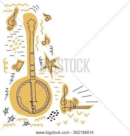 Doodle Vector Background. Poster Music Concert, Festival. Western Country Music Poster With American