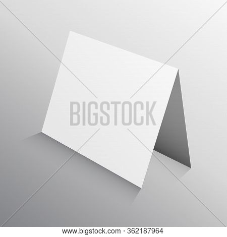 Perspective Folded Paper Card In 3d. Mockup Template