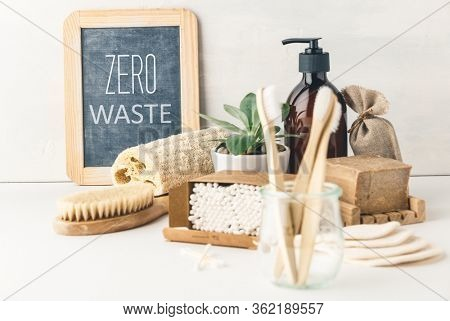 Zero waste concept. Eco-friendly bathroom accessories. Sustainable lifestyle