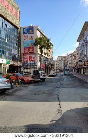 Istanbul - Mar 11, 2020: Empty Streets On Day 1 Of The Lockdown Due To The Corona Virus Pandemic At