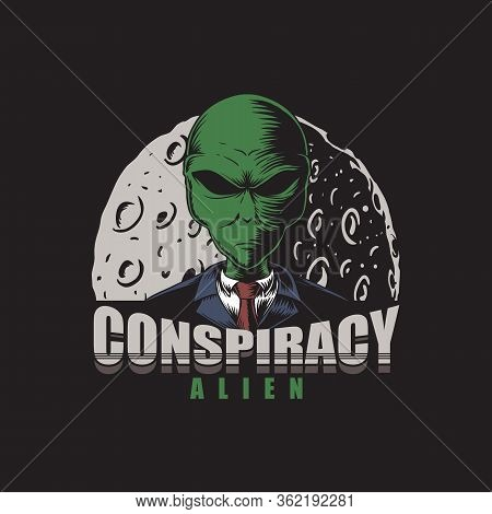 Conspiracy Alien Vector Illustration For Your Company Or Brand