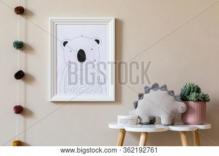 Stylish Scandinavian Nursery Interior With Mock Up Photo Frame, Toy, Design Furniture, Pillows And A