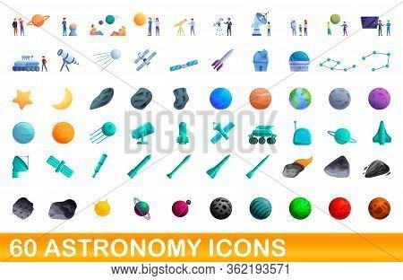 60 Astronomy Icons Set. Cartoon Illustration Of 60 Astronomy Icons Vector Set Isolated On White Back