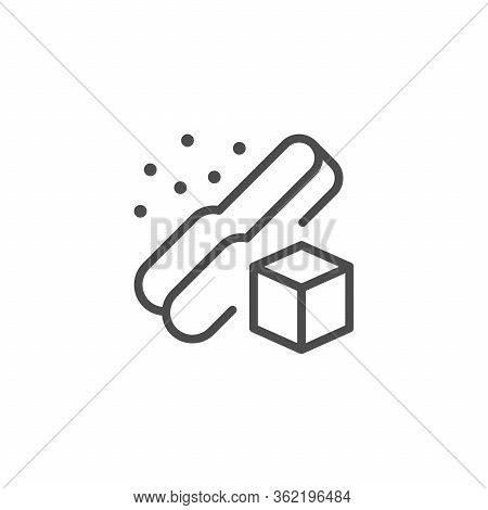 Sugar Cube And Tongs Line Outline Icon Isolated On White. Handle Kitchen Tool With Refined Sucrose P