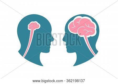 Cartoon Colorful Human Smart Stupid Head Vector
