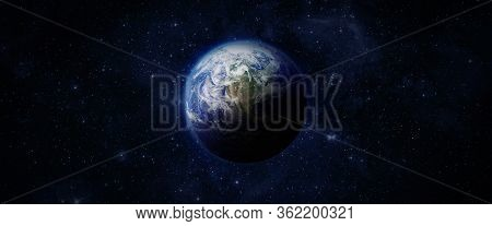Panoramic View Of The Earth, Nebula And Space. Western Hemisphere. Space, Nebula And Planet Earth. T