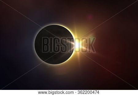 Solar Eclipse And Colorful Space. Solar Eclipse, Mysterious Natural Phenomenon When Moon Passes Betw