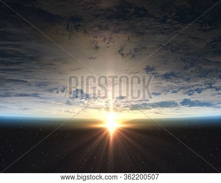 Earth, Sun And Outer Space. Planet Earth With Sunrise In The Space. Elements Of This Image Furnished