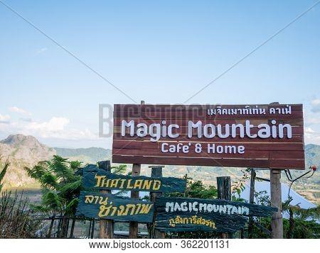 Phayao, Thailand -january,1 2020: Magic Mountain Is Landmark Famous Coffee Shop At Pha Chang Noi Sub