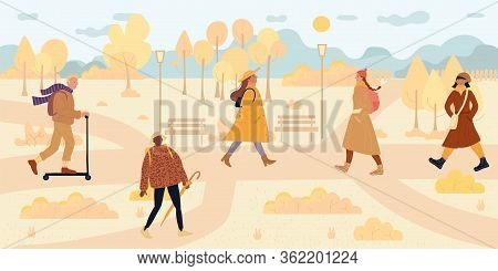 People Walk Along In Autumn Park. Man Woman Wearing Warm Clothes, Hat, Scarf Holding Umbrella, Ridin