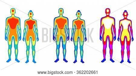 Set Of Cartoon Body Warmth Thermogram Man