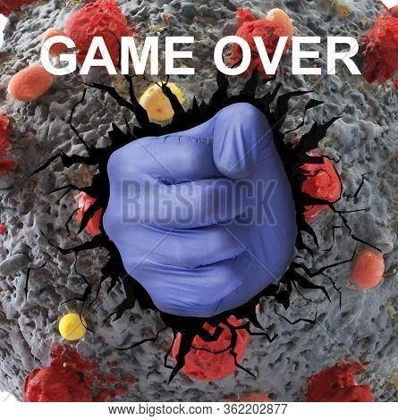 Medic hand punch coronavirus molecule from inside, defeated virus.