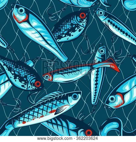 Fishing Artificial Baits Vintage Seamless Pattern With Wobblers And Plastic Lures Vector Illustratio