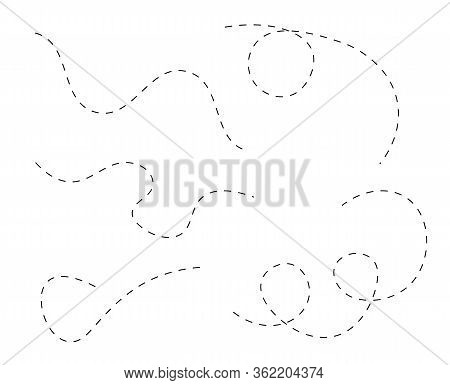 Path Travel Dotted Line Trip Dashed Trace Transportation Track And Silhouette, Travelling Symbol Vec
