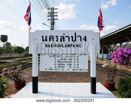 Lampang, Thailand - December 5, 2019: Classic Thailand Railway Express Nakhon Lampang Railway Statio