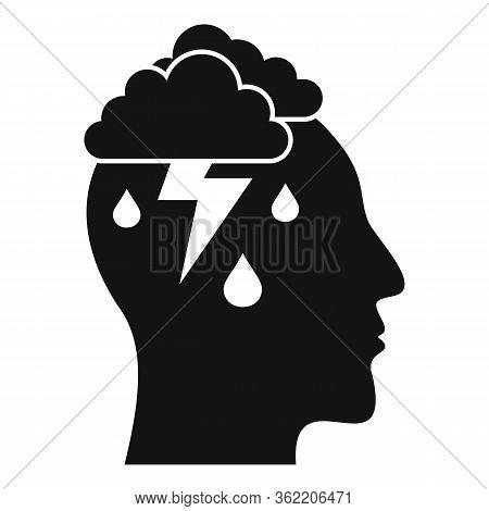 Mind Thunderstorm Icon. Simple Illustration Of Mind Thunderstorm Vector Icon For Web Design Isolated
