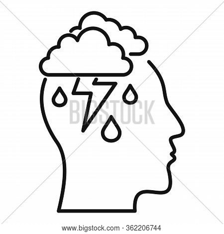 Mind Thunderstorm Icon. Outline Mind Thunderstorm Vector Icon For Web Design Isolated On White Backg
