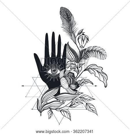 Vector Illustration Vintage Hand With All Seeing Eye, Plants, Feathers.