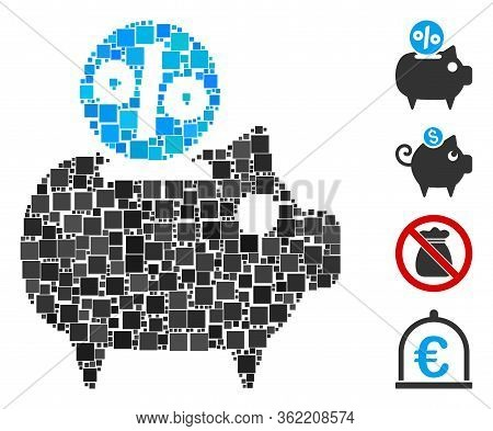 Collage Piggy Bank Icon United From Square Items In Random Sizes And Color Hues. Vector Square Items