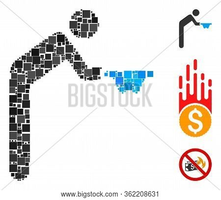 Collage Beggar Icon United From Square Items In Different Sizes And Color Hues. Vector Square Items
