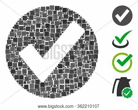 Mosaic Ok Mark Icon United From Square Items In Random Sizes And Color Hues. Vector Square Items Are