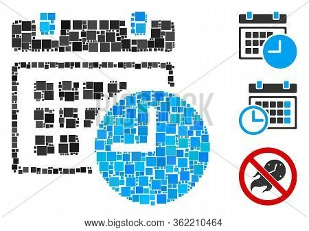 Mosaic Date And Time Icon Organized From Square Elements In Various Sizes And Color Hues. Vector Squ
