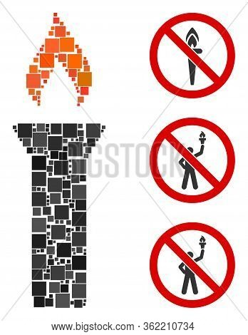 Mosaic Fire Torch Icon United From Square Items In Different Sizes And Color Hues. Vector Square Ite