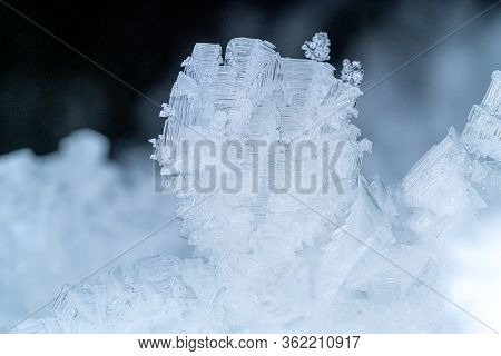 Close Up Of Snow Crystals. Close Up Of A Snow Surface
