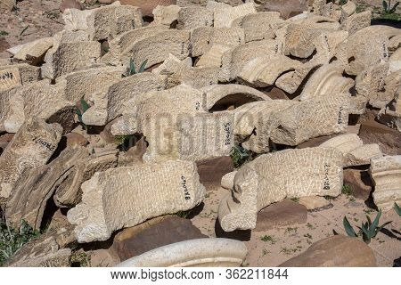 Petra, Jordan, March 2020: Numbered Pieces Of Archeological Findings At The Historical Site Of Petra
