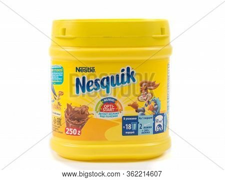 Tbilisi, Georgia- April 18, 2020: Nesquick Nestle Cocoa Powder Drink On White
