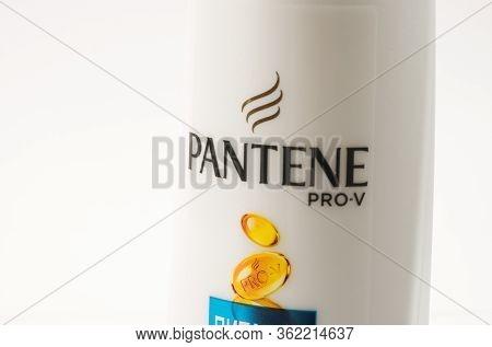 Tbilisi, Georgia- April 18, 2020: Pantene Pro-v Famous Shampoo Bottle On White