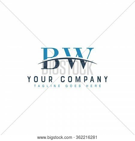 Initial Letter Bw, Overlapping Movement Swoosh Horizon Logo Company Design Inspiration In Blue And G