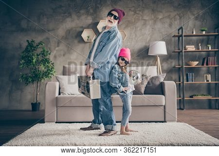 Photo Of Two People Funny Grandpa Small Granddaughter Cool Style Sun Specs Denim Outfit House Party
