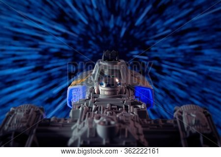 APRIL 20 2020:  Scene of a Star Wars Rebellion Y-Wing fighter bomber warping into hyperspace - vintage Kenner vehicles