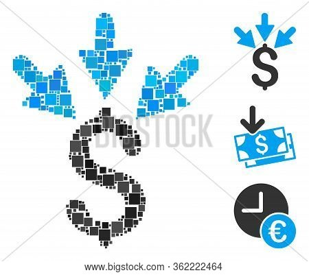 Collage Aggregate Payment Icon Organized From Square Items In Variable Sizes And Color Hues. Vector