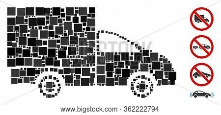 Mosaic Lorry Icon United From Square Items In Random Sizes And Color Hues. Vector Square Items Are G