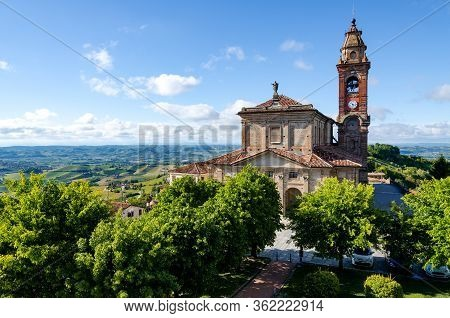 Main Square Of Diano D\'alba (piedmont, Italy), Town In The Hills Of Langhe, With The Gardens And Th