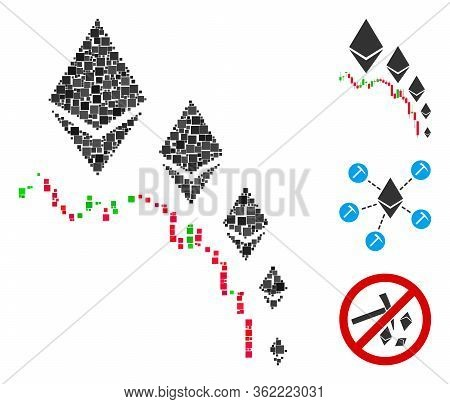 Collage Ethereum Deflation Chart Icon Organized From Square Items In Various Sizes And Color Hues. V