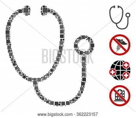 Collage Stethoscope Icon United From Square Elements In Different Sizes And Color Hues. Vector Squar