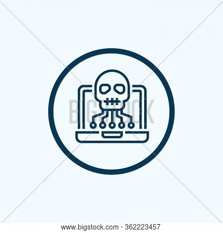 Computer With Skull And Crossbones Symbol, Virus, Cybercrime Color Line Icon.