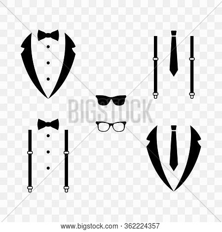 Wedding Suit, Tuxedo, Bow-tie, Suspenders, Tie Isolated On Transparent Background.