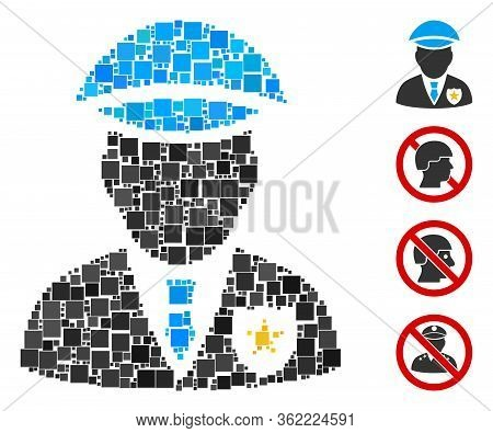 Collage Sheriff Icon Composed Of Square Items In Different Sizes And Color Hues. Vector Square Items