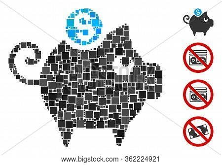 Collage Piggy Bank Icon United From Square Items In Variable Sizes And Color Hues. Vector Square Ite