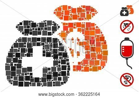 Collage Health Care Funds Icon Organized From Square Elements In Variable Sizes And Color Hues. Vect