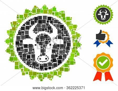 Mosaic Beef Certificate Seal Icon Composed Of Square Items In Random Sizes And Color Hues. Vector Sq