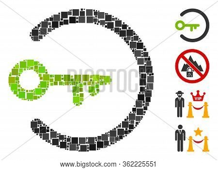 Mosaic Login Access Icon Composed Of Square Items In Various Sizes And Color Hues. Vector Square Ite