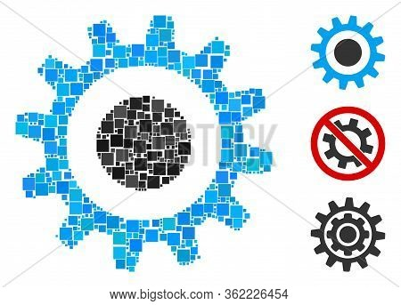Mosaic Cogwheel Icon United From Square Elements In Random Sizes And Color Hues. Vector Square Eleme