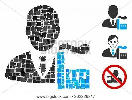 Collage Capitalist Oligarch Icon Constructed From Square Elements In Different Sizes And Color Hues.